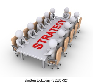 Businessmen sitting across a table with the strategy word on it