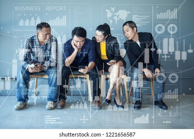 Businessmen Sitting in Chairs Reading ฺBusiness Research Papers from their Friends' Mobile Phones.Group Business adviser meeting to analyze and Discussing the SPreadsheet Data on the Financial Report