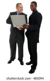 Businessmen Standing with Laptop Computer. Shot in studio over white.
