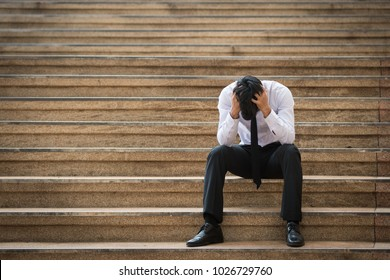 Businessmen stress On the stairs in front of the office