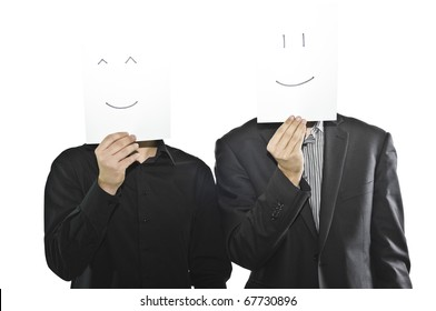 Businessmen in suits with paper sheets, smiling emoticons, happy