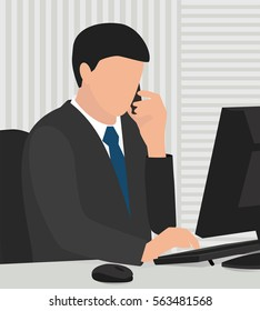 businessmen talking on the phone and working on the computer in the office