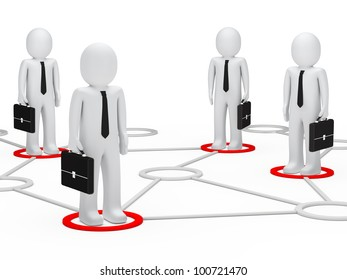 businessmen team stand togehter in a network