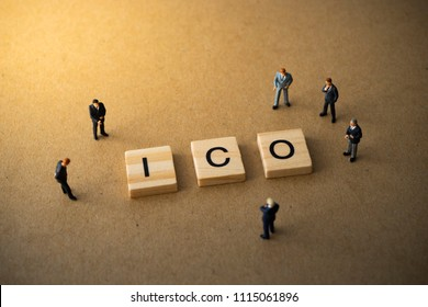 Businessmen thinking about invest ICO initial coin offering concept