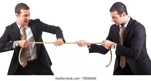 Businessmen twins pulling a rope