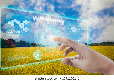 Businessmen use finger touch interface screen, auction agricultural products modern wireless network 5G technologies,with farm background,agriculture technology concepts development internet of things
