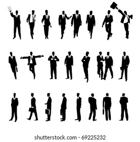 Businessmen in various situations. Raster version. Vector version is also available.