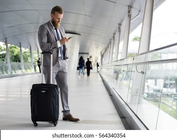 Businessmen Walk Call Phone Luggage Business Trip