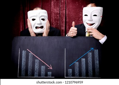 Businessmen wearing tragedy and comedy masks showing their financial charts