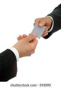 Businessmen's hands with business card