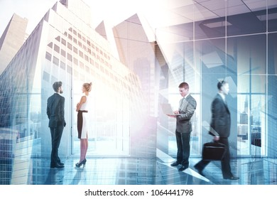 Businesspeople in abstract conference room interior with city view. Meeting, discussion and teamwork concept. Double exposure