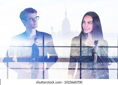 Businesspeople in abstract office interior with city view. Partnership and finance concept. Double exposure