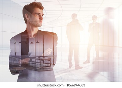 Businesspeople in abstract office interior with sunlight. Meeting, teamwork and think concept. Double exposure
