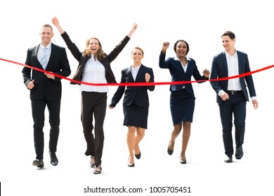 Businesspeople Competing With Their Colleagues Running Towards Red Ribbon On White Background