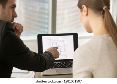 Businesspeople discuss remodeling, building plan, talk about interior design, renovation ideas, estimating property value, real estate investment, home appraisal, focus on screen, rear close up view
