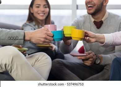 Businesspeople Group Clinking Cups Coffee Break In Coworking Center Diverse Mix Race Team Coworkers Workplace Modern Office