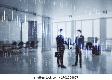 Businesspeople handshake with glowing falling forex chart. Teamwork and stock concept. Double exposure