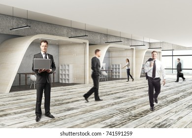 Businesspeople in modern coworking office interior. Conference concept. 3D Rendering