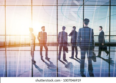 Businesspeople in modern meeting room. Teamwork and employment concept. Double exposure