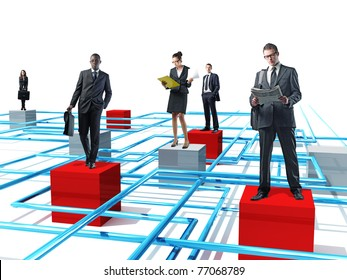 businesspeople on 3d virtual connection