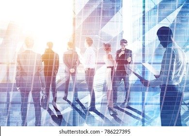Businesspeople on abstract city background. Meeting and group conference concept. Double exposure