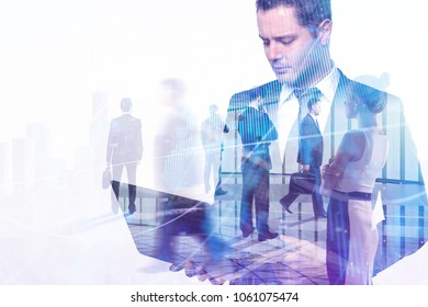 Businesspeople on abstract forex background. Meeting, finance and technology concept. Double exposure