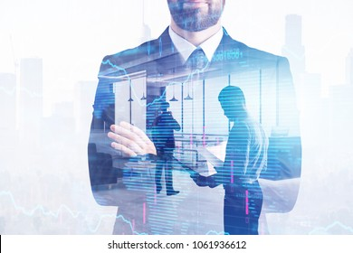 Businesspeople on abstract forex background. Meeting, finance and analysis concept. Double exposure