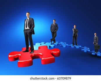 businesspeople on jigsaw stair 3d