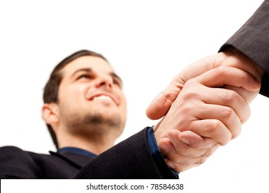 Businesspeople shaking hands. Isolated on white.