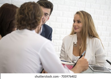 Businesspeople Sitting in office and Work Together. Businessman have a Meeting with Team. Businesspeople Working concept.
