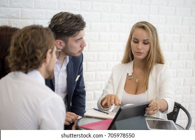 Businesspeople Sitting in office and Work Together. Businessman have a Meeting with Team. Woman Working concept.