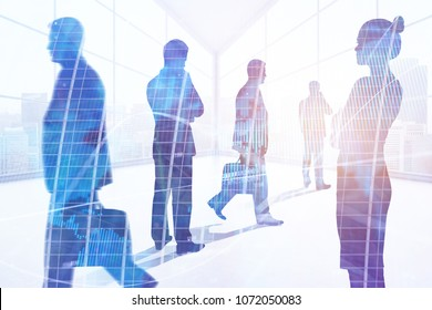 Businesspeople standing in abstract office interior with sunlight. Meeting, teamwork, discussion and success concept. Double exposure