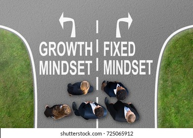 Businesspeople Standing On Road With Arrow Sign Showing Growth Mindset And Fixed Mindset Direction