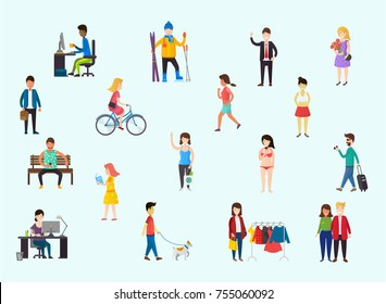 Businesspeople, teenager walking a dog, woman shopping, couple. Set of cartoon people