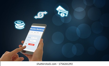 Businesspeople using a smartphone, transfer money, pay for goods and services with a secure protection system. Mobile banking network.