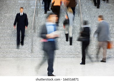 Businesspeople Walking Up Stairs, Motion Blur