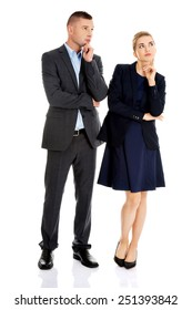 Businesspeople wondering about their corporation