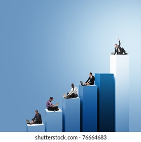 businesspeople work with laptop on 3d chart
