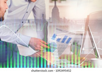 Businesspeople working on project together at modern office workplace with abstract forex chart. Accounting and stock concept. Double exposure