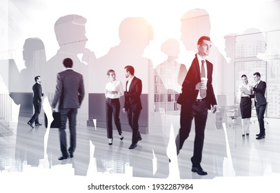 Businesspeople working and rushing in office with cup of coffee. Concept of lunch time and coffee break. Working process at financial consulting international panoramic office. Double exposure