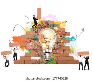 Businesspeople works together for a new creative idea