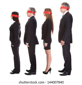 Businesspeople's Eyes Covered With Ribbon Isolated Over White Background