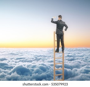 Businessperson on ladder looking into the distance on sky background. Research concept