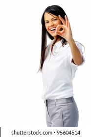 Businessperson shows OK hand sign in studio, isolated on white