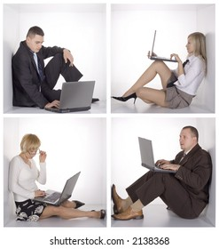 businessteam with laptops in the white cubes