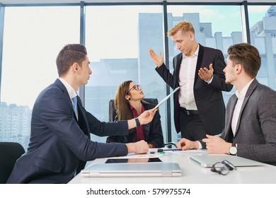 Businessteam working at  desk  a modern office. Training busines