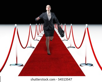 businesswoma run on 3d  red carpet