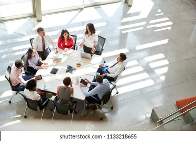Businesswoman addressing team meeting, elevated view