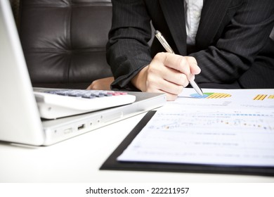 Businesswoman analyzing investment charts with laptop. Accounting
