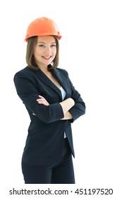 Businesswoman architect  isolated on white background